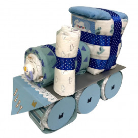 Alma Diaper cake TRAIN Blue
